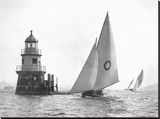 Sloop and Channel Pile Light on Sydney Harbour Stretched Canvas Print by  Anonymous