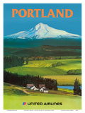 Portland, Oregon - United Airlines - Mount Hood Prints by Tom Hoyne