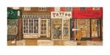 Dans la rue où tu vis (Poster, Tatouages, Ville, Boutique, Rouge) Posters par Sam Toft