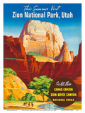 Zion National Park, Utah - Great White Throne Monolith Print by  Pacifica Island Art