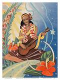 Hawaiian Musician - Curt Teich & Co. Print by Ted Mundorff