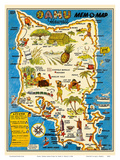 Oahu, Hawaii Mem-O-Map - World War II Military Souvenir Map Prints by John G. Drury