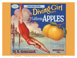 California Apples - Newtown Pippins - Diving Girl Brand Art by  Pacifica Island Art
