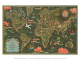 World Map - Fly Routes World Map - Planisphere Poster by Lucien Boucher