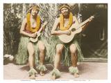 Hawaiian Hula Girls - Honolulu Hawaii Posters by James J. Williams