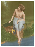 Water Nymph - Classic Vintage French Nude - Hand-Colored Tinted Art Posters by  NPG - Neue Photographische Gesellschaft