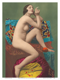 Le Fumeur (The Smoker) - Classic Vintage French Nude - Hand-Colored Tinted Erotic Art Art by  PC Paris Studio
