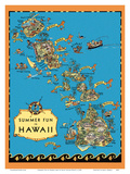 Summer Fun in Hawaii Map - Hawaii Tourist Bureau Posters by Ruth Taylor White