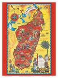 Madagascar - Map - Africa Island Art by Maurice Tranchant