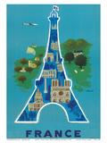 France - Eiffel Tower, Paris Kunst af Bernard Villemot