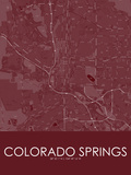 Colorado Springs, United States of America Red Map Prints