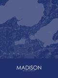 Madison, United States of America Blue Map Print