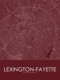 Lexington-Fayette, United States of America Red Map Posters