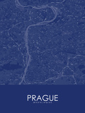 Prague, Czech Republic Blue Map Poster