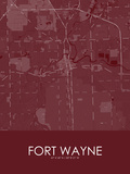 Fort Wayne, United States of America Red Map Posters