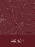 Suzhou, China Red Map Photo