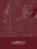 Laredo, United States of America Red Map Posters