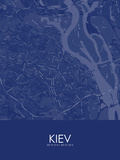 Kiev, Ukraine Blue Map Prints