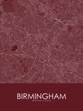Birmingham, United Kingdom Red Map Prints