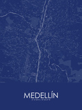 Medellin, Colombia Blue Map Print