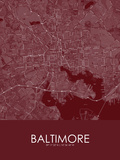 Baltimore, United States of America Red Map Prints