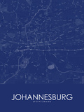 Johannesburg, South Africa Blue Map Posters