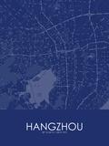 Hangzhou, China Blue Map Poster