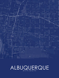 Albuquerque, United States of America Blue Map Prints