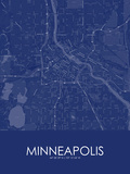 Minneapolis, United States of America Blue Map Photo