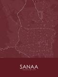 Sanaa, Yemen Red Map Posters