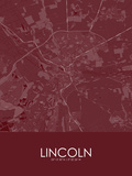 Lincoln, United Kingdom Red Map Posters