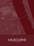 Melbourne, United States of America Red Map Posters