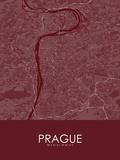 Prague, Czech Republic Red Map Posters