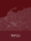 Tripoli, Libya Red Map Poster