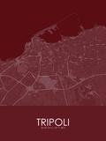 Tripoli, Libya Red Map Poster