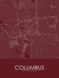 Columbus, United States of America Red Map Posters