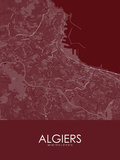 Algiers, Algeria Red Map Print