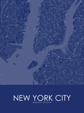 New York City, United States of America Blue Map Print