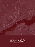 Bamako, Mali Red Map Prints