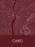 Cairo, Egypt Red Map Prints