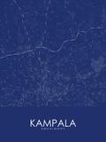 Kampala, Uganda Blue Map Billeder
