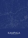 Kampala, Uganda Blue Map Photo