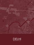 Delhi, India Red Map Prints