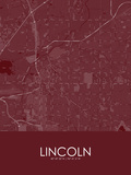 Lincoln, United States of America Red Map Prints