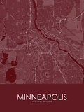 Minneapolis, United States of America Red Map Print