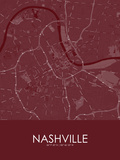 Nashville, United States of America Red Map Posters