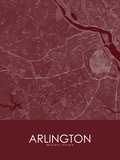 Arlington, United States of America Red Map Posters