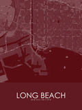Long Beach, United States of America Red Map Posters