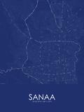 Sanaa, Yemen Blue Map Posters