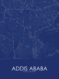 Addis Ababa, Ethiopia Blue Map Prints